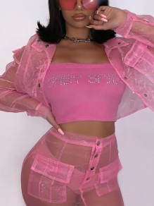Pink Grenadine Pockets Buttons Two Piece Sheer Party Clubwear Mini Dress