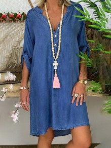 Blue Bandeau Fashion Sweet Comfy One Piece mini dress