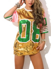 Golden Letter 08 Sequin Jersey Glitter Half Sleeve Sparkly Casual T-shirt Mini Dress