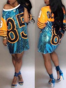 Blue 85 Letter Sequin Half Sleeve Coachella Outfits Jersey Oversized Casual Mini Dress