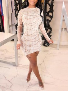 Apricot Patchwork Sequin Tassel Bodycon Banquet Elegant Homecoming Party Mini Dress