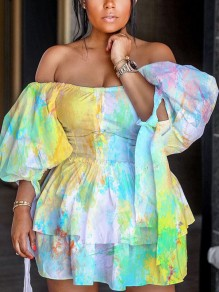 Green Tie Dyeing Off Shoulder Cascading Ruffle Pleated Puff Sleeve Homecoming Party Mini Dress