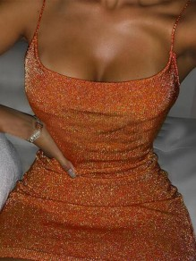 Orange Bright Wire Square Neck Spaghetti Strap Backless Bodycon Sparkly Mini Dress