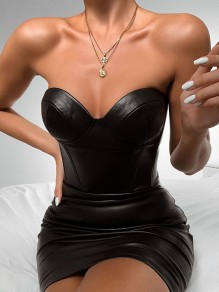 Black Off Shoulder Bodycon PU Leather Latex Patent Rubber Party Mini Dress