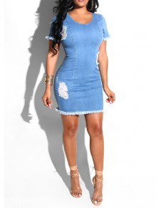 Blue Distressed Ripped Bodycon Denim Party Mini Dress
