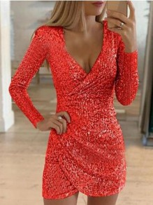 Red Sequin Irregular Deep V-neck Bodycon Sparkly NYE Banquet Party Mini Dress