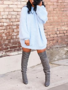 Blue Mane Fuzzy Fatigue Long Sleeve Bodycon Party Sweater Mini Dress