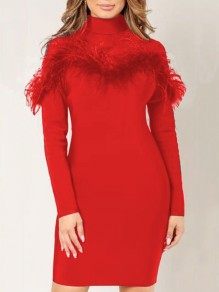 Red Patchwork Grenadine Feather figurbetontes Party-Minikleid