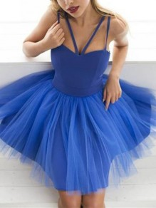 Blue Patchwork Grenadine Fluffy Puffy Tulle Sleeveless Elegant Mini Dress