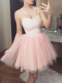 Pink Patchwork Grenadine Fluffy Puffy Tulle Sleeveless Elegant Mini Dress