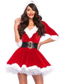 Red Patchwork Belt Christmas Santa Print V-neck Fashion Mini Dress