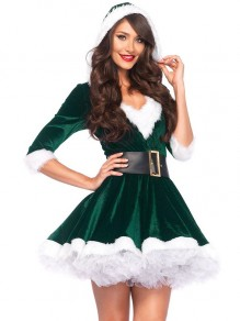 Green Patchwork Belt Christmas Santa Print V-neck Fashion Mini Dress