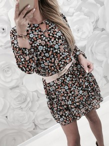 Black Floral Ruffle Bodycon Long Sleeve Going out Mini Dress