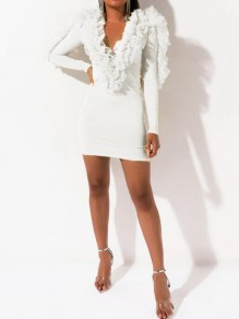 White Patchwork Ruffle Deep V-neck Bodycon Clubwear Party Mini Dress