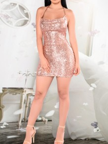 Apricot Patchwork Sequin Spaghetti Strap Backless Sparkly Glitter Birthday Party Mini Dress