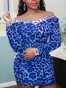 Blue Leopard Letter Fashion Print Off Shoulder Backless Bodycon Mini Dress