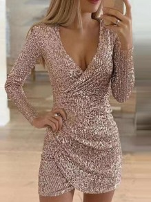 Golden Patchwork Sequin Bodycon V-neck Sparkly Glitter Birthday Party Mini Dress