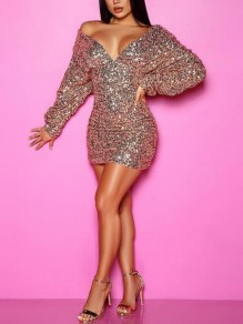 Champagne Sequin Pleated Deep V-neck Backless NYE Bodycon Banquet Party Mini Dress