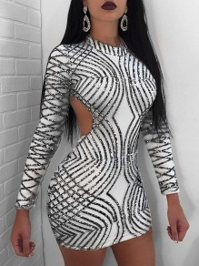 Grey Patchwork Sequin Backless Bodycon Sparkly Glitter Birthday Long Sleeve Party Mini Dress