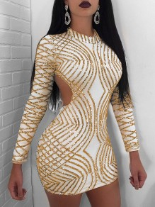 Golden Patchwork Sequin Backless Long Sleeve Bodycon Sparkly Glitter Birthday Party NYE Mini Dress