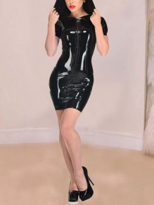 Black Zipper Hooded Bodycon PU Leather Latex Patent Rubber Party Mini Dress