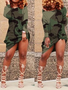 Green Camouflage Off Shoulder Knot Casual Mini Dress