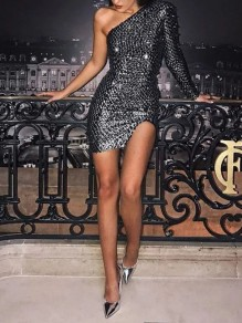 Silver Patchwork Sequin Asymmetric Shoulder Bodycon Sparkly Glitter Birthday Party Mini Dress