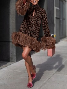 Brown Leopard Print Feather Long Sleeve Party Mini Dress