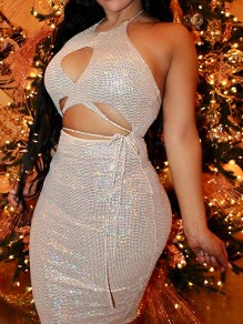 White Halter Neck Patchwork Sequin Backless Bodycon Sparkly Glitter Birthday Party Mini Dress