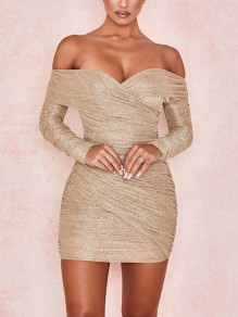 Khaki Bright Wire Off Shoulder Sparkly Glitter Birthday Bodycon Party Mini Dress