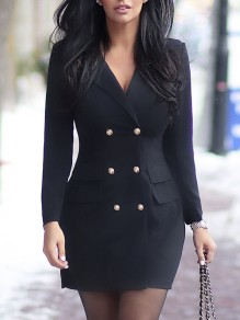 Black Double Breasted Pockets V-neck Long Sleeve Elegant Mini Dress