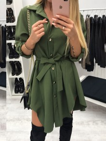 Army Green Belt Buttons High-low Turndown Collar Long Sleeve Fashion Mini Dresses