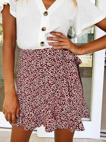 Red Floral Print Elastic Waist Fashion Skirt