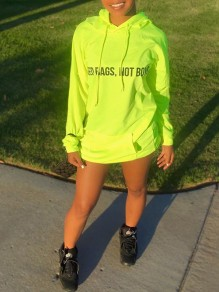 "Neon Green ""NEED BAGS, NOT BOYS"" Letter Print Pockets Hooded Long Sleeve Sweatshirts Mini Dress"