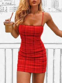 Red Plaid Print Adjustable-straps Square Neck Sleeveless Bodycon Cute Preppy Style Mini Dress