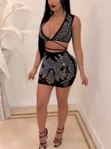 Black Rhinestone V-neck Bandage Two Piece Sheer Hip Bodycon Clubwear Glitter Sparkly Birthday Party Mini Dress