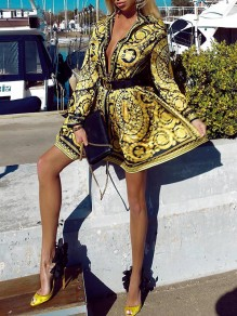Golden Africa Tribal Print Turndown Collar V-neck Single Button Long Sleeve Flowy Casual Mini Dress