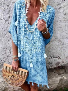 Light Blue Floral Print Tassel V-neck Bohemian Mini Dress