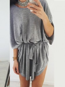 Grey Drawstring Pleated Irregular Bodycon Bodycon Dolman Sleeve Going out Mini Dress