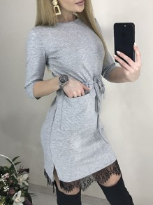 Grey Patchwork Lace Pockets Belt Bodycon Round Neck 3/4 Sleeve Sweet Mini Dress