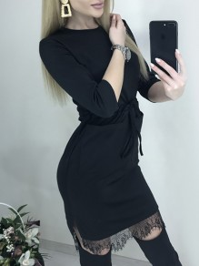 Black Patchwork Lace Pockets Belt Bodycon Round Neck 3/4 Sleeve Sweet Mini Dress
