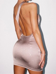 Skin Colour With Rhinestones Asymmetric Shoulder Backless Hip Bodycon Shimmer Party Mini Dress