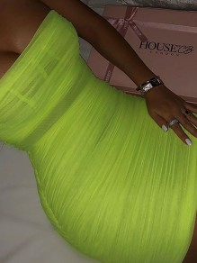 Neon Green Grenadine Ruched Sheer Adjustable-straps Hip Bodycon Clubwear Party Mini Dress