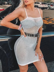 White Mesh Fishnet Sheer Shoulder-Strap Cover Up Hip Bodycon Clubwear Mini Dress