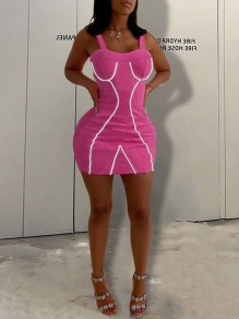 Rose Carmine Zipper Patchwork Reflective Strip Schultergurt V-Ausschnitt Sparkly Hip Bodycon Clubwear Minikleid