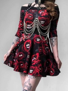 Black Gothic Pattern Print Off Shoulder Two Piece Pleated A-Line Skate Skirt Punk Mini Dress