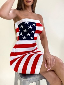 White Plus Size American Flag Print Independence Day Bandeau Off Shoulder Festival Casual Mini Dress