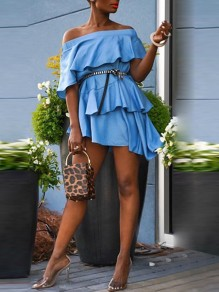 Light Blue Patchwork Irregular Cascading Ruffle Off Shoulder Short Sleeve Cute Mini Dress