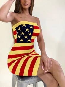 Yellow Plus Size American Flag Print Independence Day Bandeau Off Shoulder Festival Casual Mini Dress