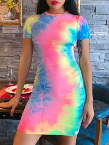 Multicolor Colorful Tie Dye Round Neck Short Sleeve Bodycon Clubwear Rave Festival Cute Mini Dress